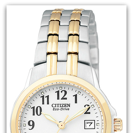 CitizenEW1544-53A Eco-Drive two-tone watch with white dial, Arabic numerals, date, 100M water resist