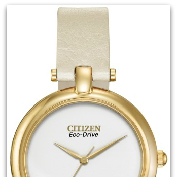 CitizenEM0252-06A Eco-Drive gold-tone watch with white dial, ivory leather strap, 30M water resist