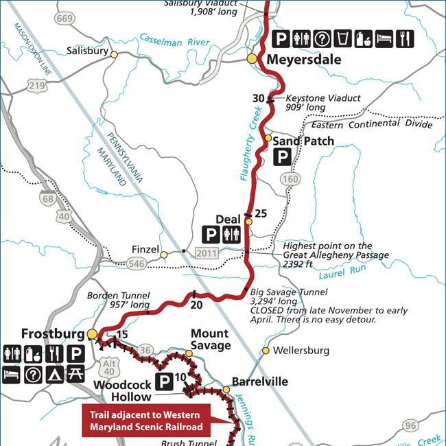 Great Allegheny Passage trail map