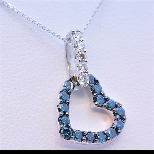 Blue Diamond Heart Pendant
