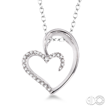 Sterling Silver and Diamond Open Heart Pendant