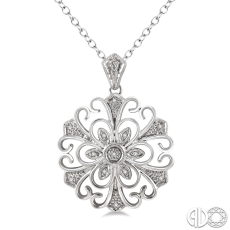 Sterling Silver and Diamond Filigree Medallion Pendant