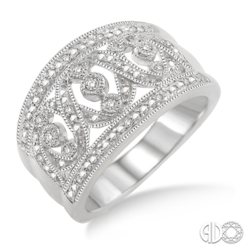 Sterling Silver and Diamond Filigree Band