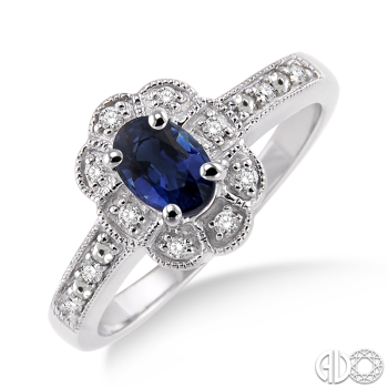 Sterling Silver and Diamond Blue Sapphire Ring