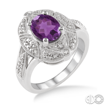 Sterling Silver and Diamond Amethyst Ring
