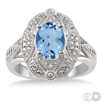 Sterling Silver and Diamond Blue Topaz Ring