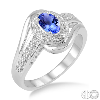 Sterling Silver and Diamond Tanzanite Ring