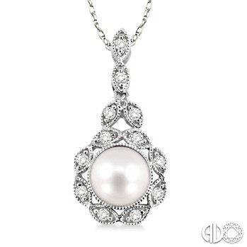 Freshwater Pearl and Diamond Pendant