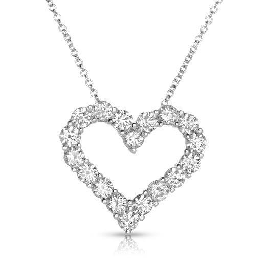 Diamond Heart Pendant in 14 K White Gold
