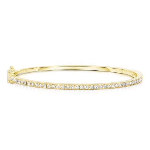 Diamond Bangle Bracelet in 14 K Yellow Gold