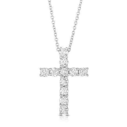 Diamond Cross Pendant in 14 K White Gold