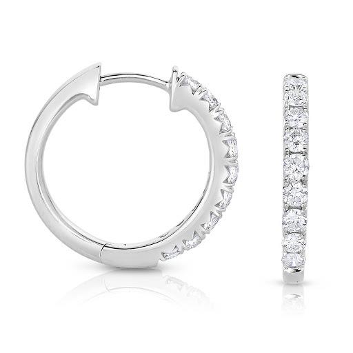Diamond Round Inside Out Hoop Earrings in 14 K White Gold