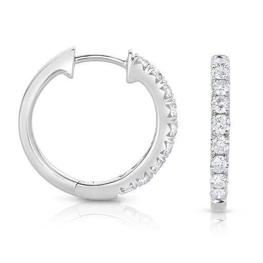 Diamond Round Inside Out Hoop Earrings in 14 K White Gold