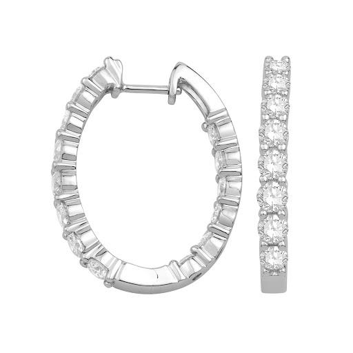 Diamond Oval Inside Out Hoop Earrings in 14 K White Gold