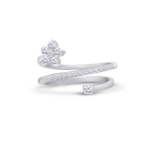 Dizeo Sterling Silver and CZ Flower and Twist Ring
