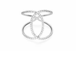 Dizeo Sterling Silver and CZ Channel Look Ring