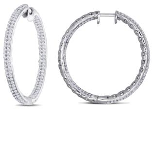 Dizeo Sterling Silver and CZ Inside-Out Large Hoop Earrings