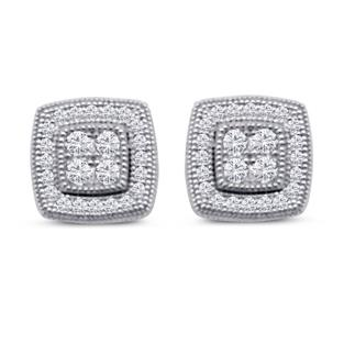 Dizeo Sterling Silver and CZ Halo Stud Earrings