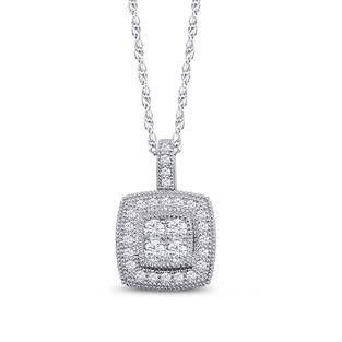 Dizeo Sterling Silver and CZ Cushion Halo Pendant