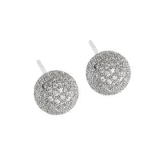 Dizeo Sterling Silver and CZ Pave Ball Stud Earrings