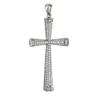 Dizeo Sterling Silver and CZ Large Cross Pendant