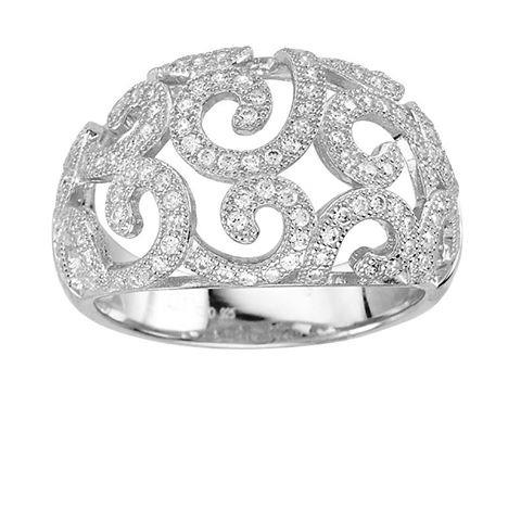 Dizeo Sterling Silver and CZ Dome Filigree Ring