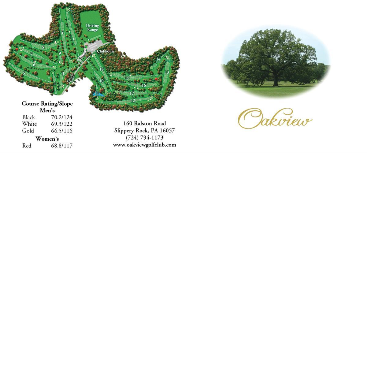 2016 memberships golfing Oakview Golf Club Pittsburgh Slippery Rock PA