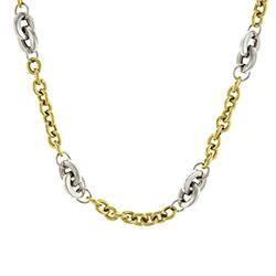 Herco White and Yellow Gold Link Necklace