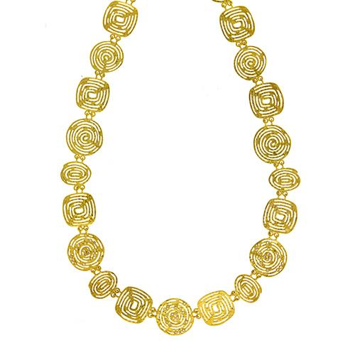 Herco Textured Link Gold Necklace