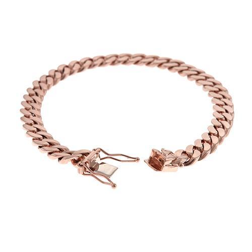Herco Solid Rose Gold Curb Link Bracelet