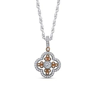 Dizeo Sterling Silver Rose and White Pendant