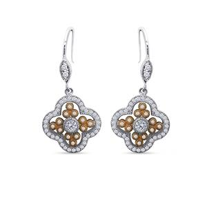 Dizeo Sterling Silver and CZ Rose and White Dangle Earrings