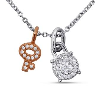 Dizeo Sterling Silver and CZ Lock and Key Pendant