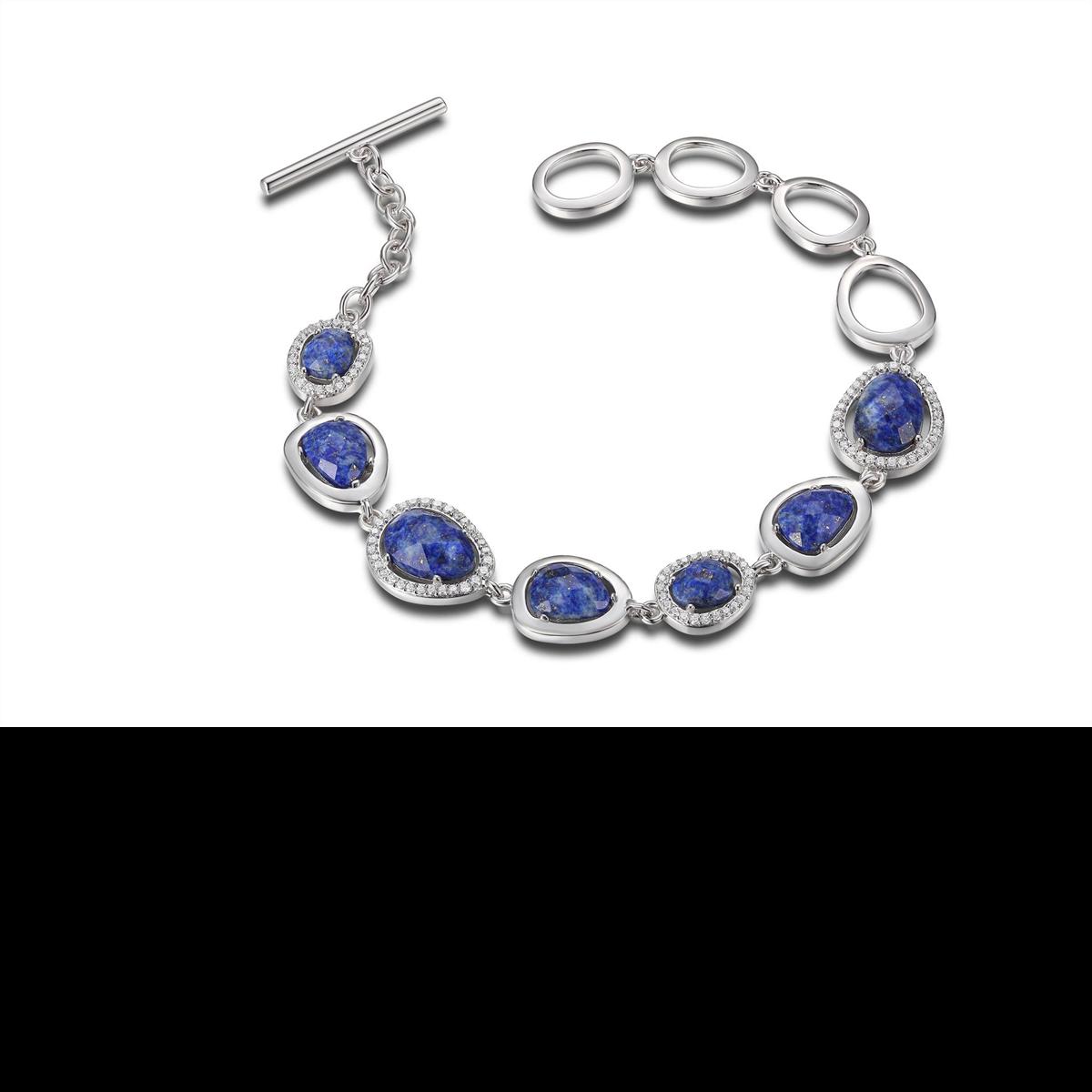 ELLE silver bracelet lapis lazuli cubic zirconia