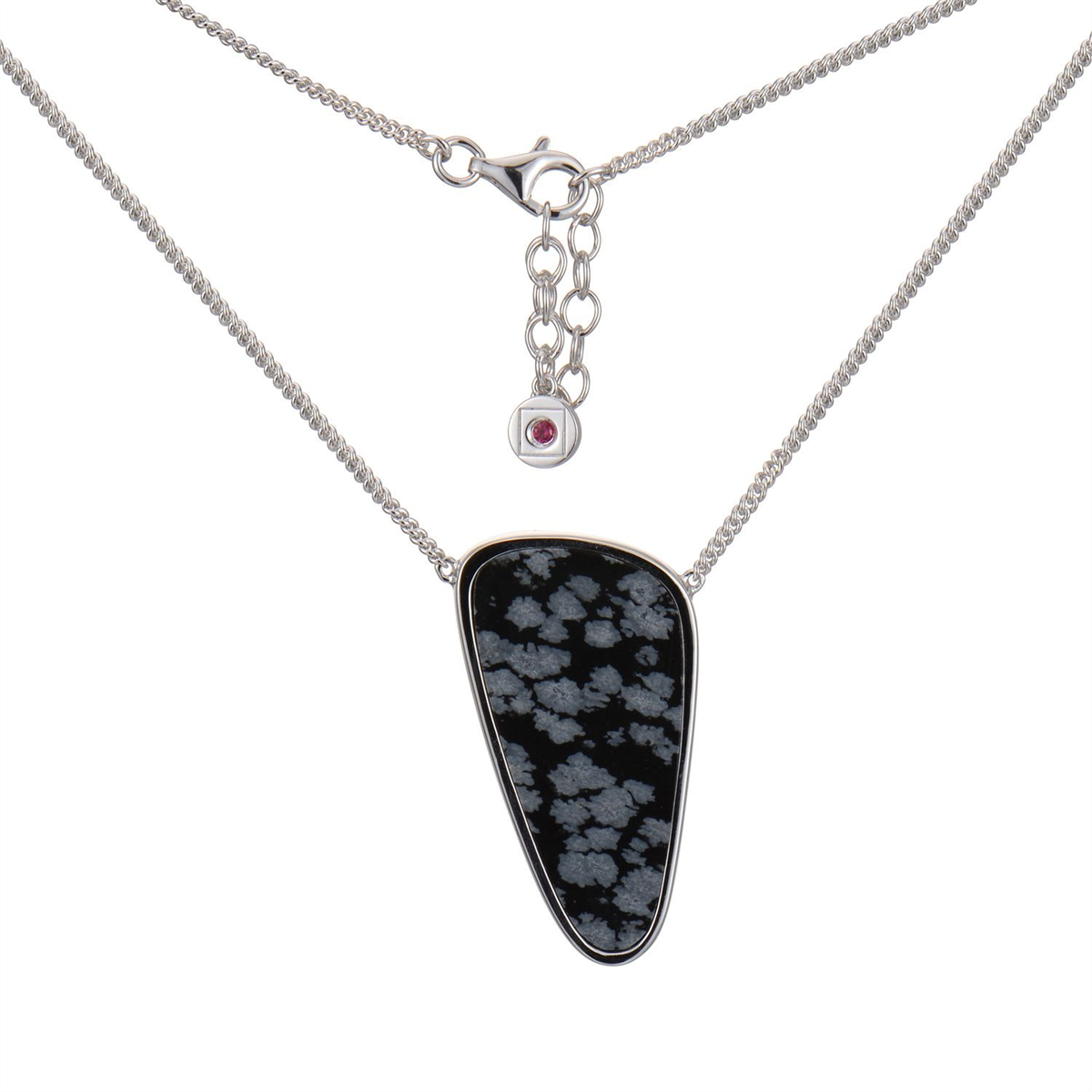 ELLE sterling silver necklace snowflake obsidian