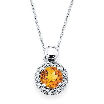 Round Citrine with Diamond Halo Pendant