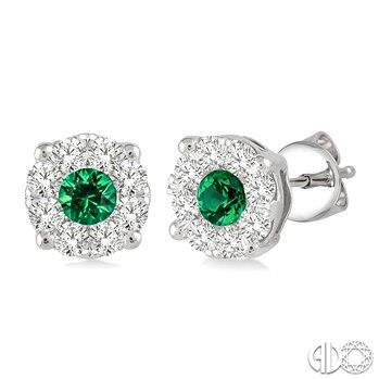 White Gold Emerald and Diamond Stud Earrings