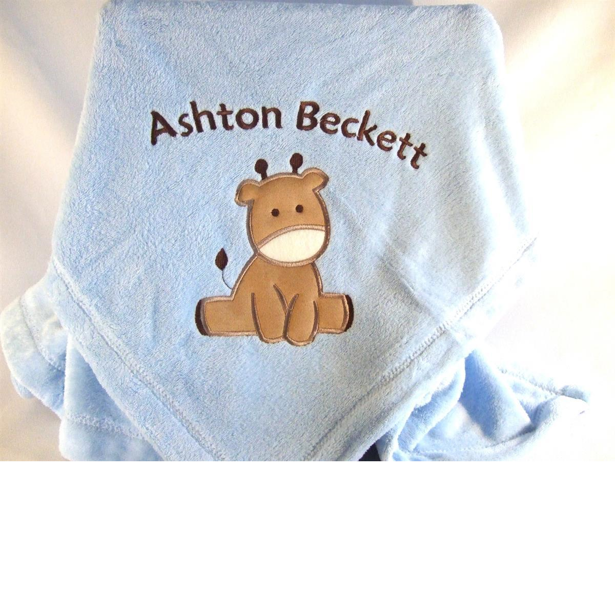 Personalized blue baby blanket with giraffe applique