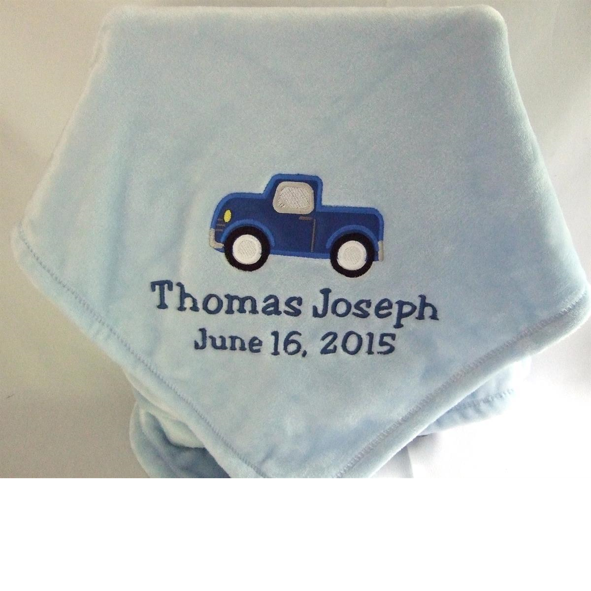 Personalized blue baby blanket truck applique
