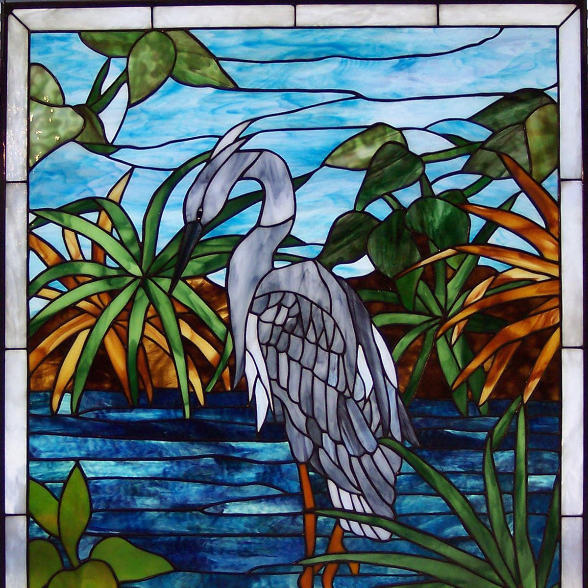 Great Blue Heron Stained Glass Window
