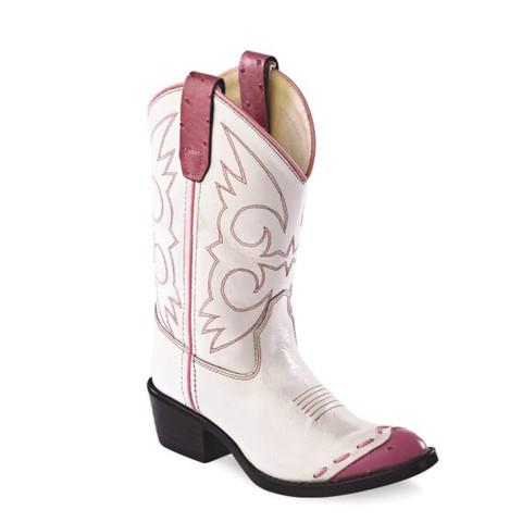 White & Pink Cowgirl Boot
