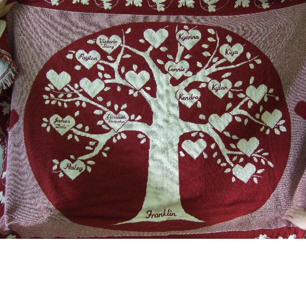 Burgundy family tree throw with hearts
