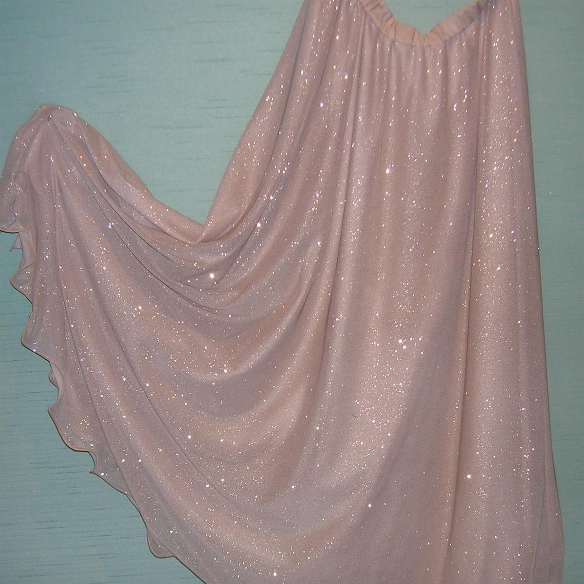 White/Silver Sparkle Chiffon 1/2 circle flounce skirt