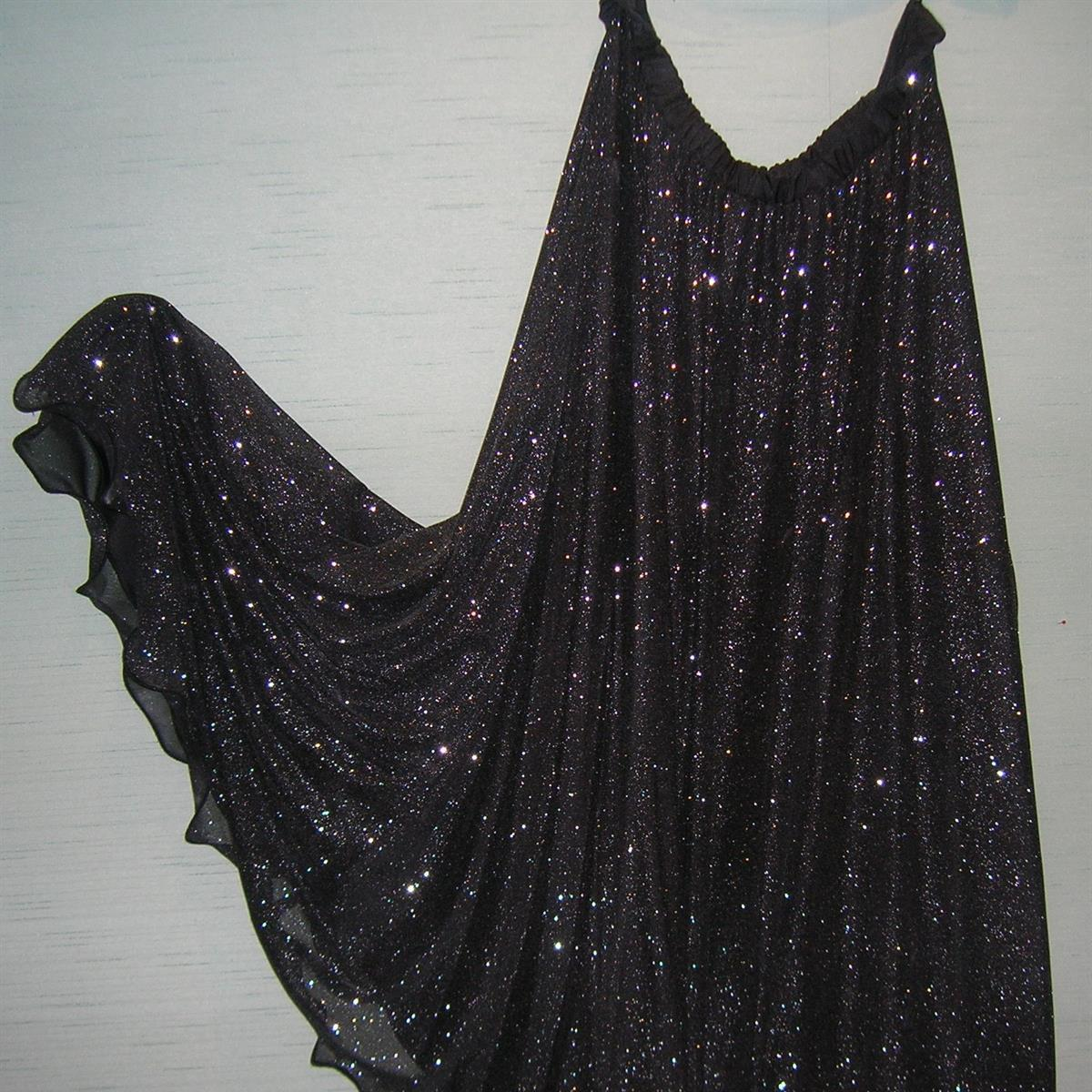 Black/Silver Sparkle 1/2 circle flounce skirt