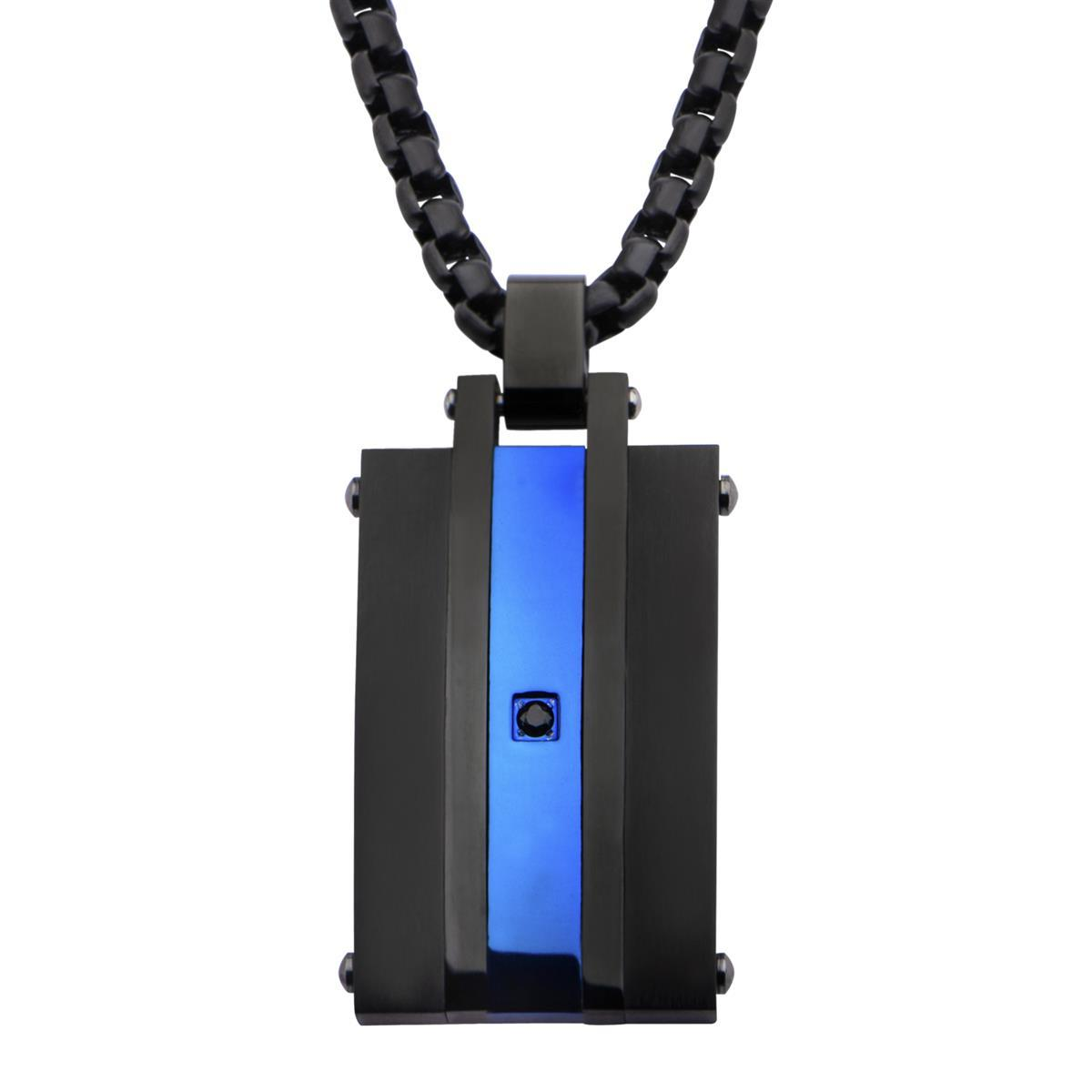 inox_black_stainless_steel _blue_line_necklace