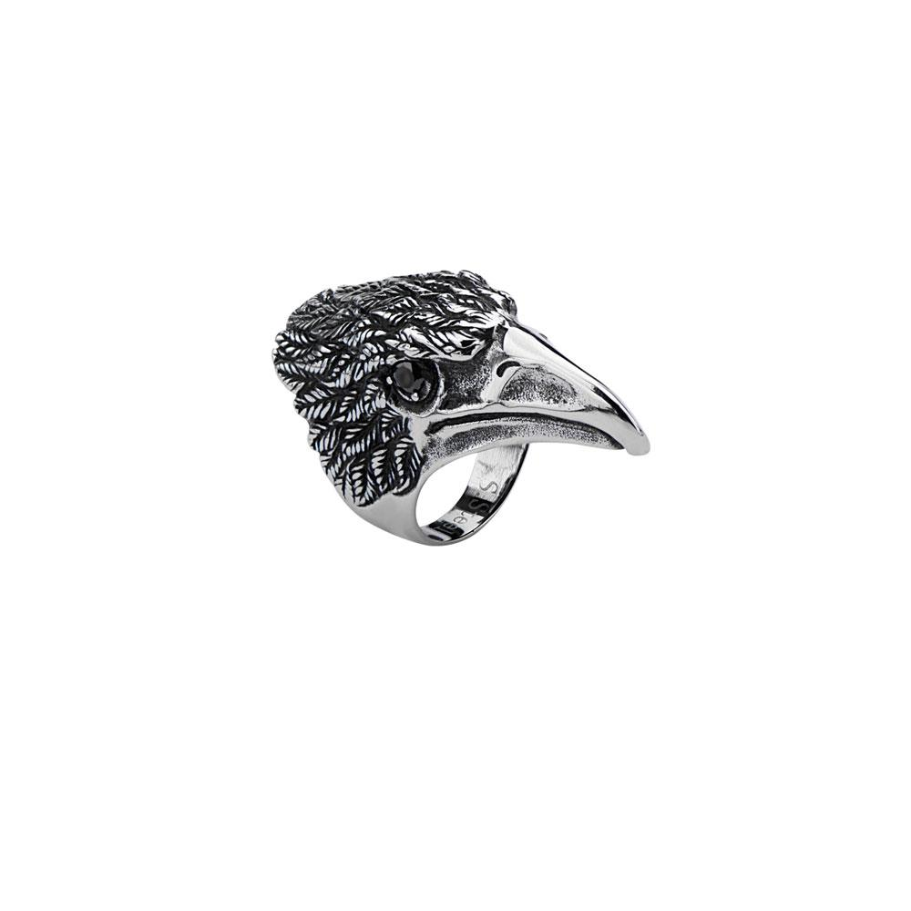 inox_Stainless_steelblack_bird_head_ring