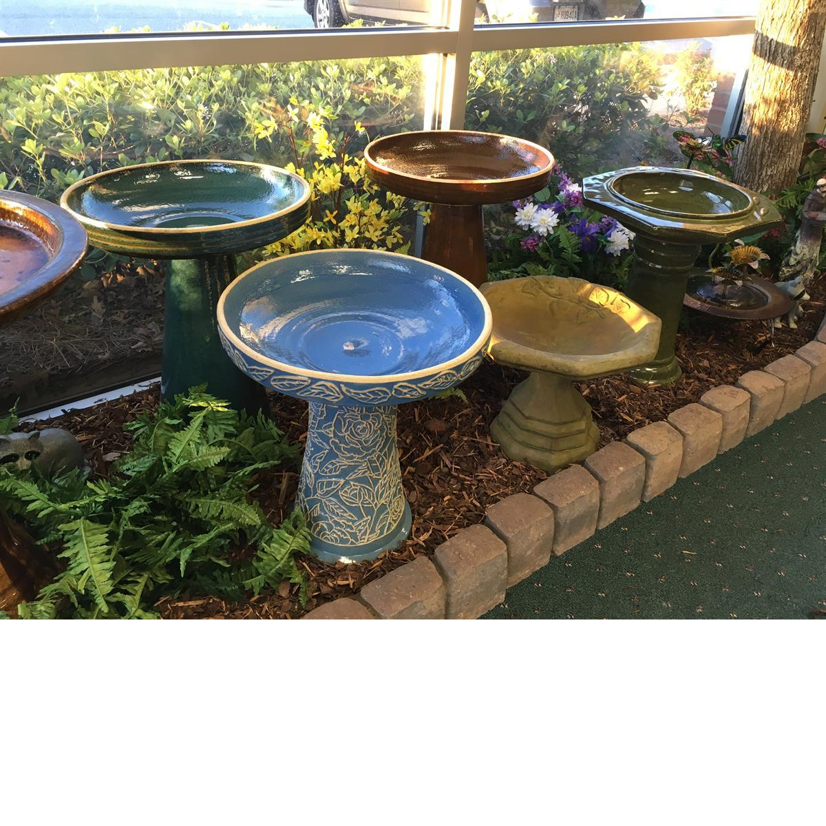 bird bath, burley clay, hand painted, athens stonecasting