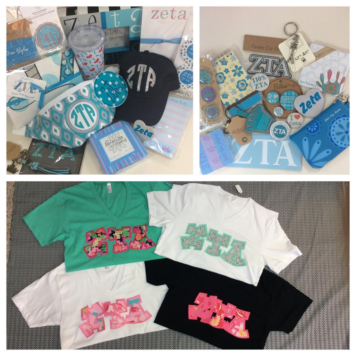 Zeta Tau Alpha Custom Embroidery T-shirts Accessories Campus Gear Stickers