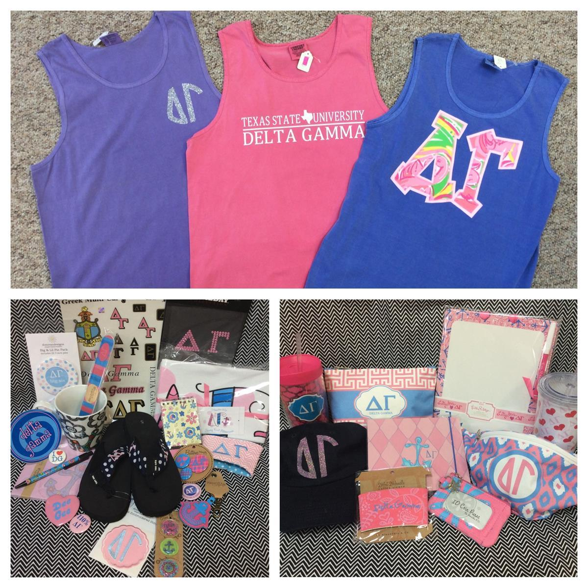 Delta Gamma Custom Embroidery T-shirts Accessories Campus Gear Stickers