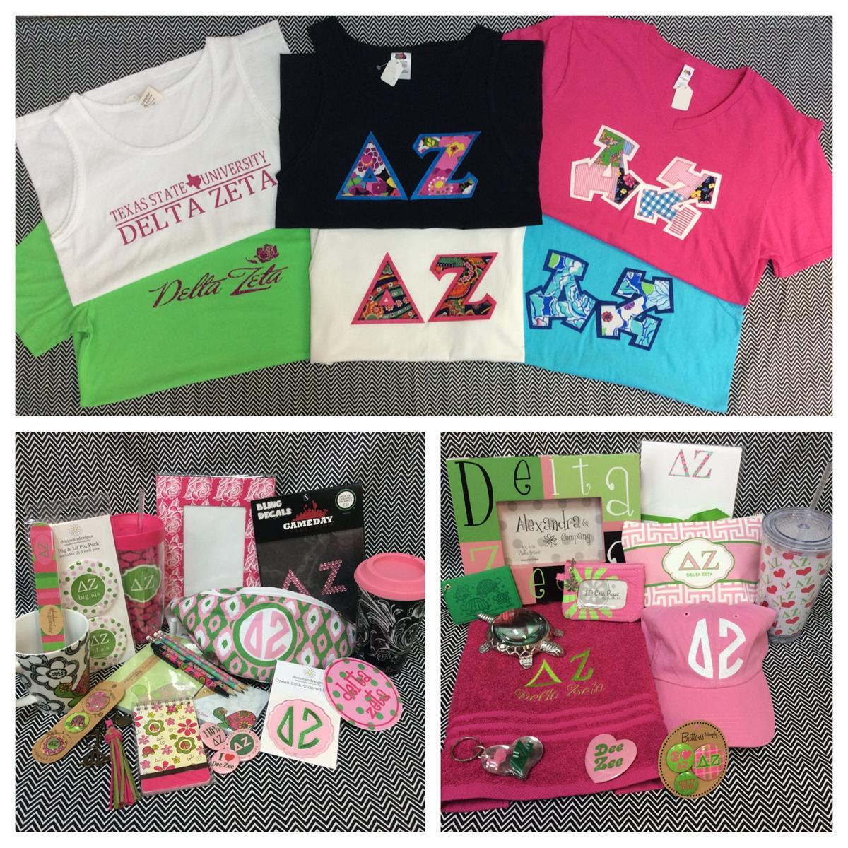 Delta Zeta Custom Embroidery T-shirts Accessories Campus Gear Stickers